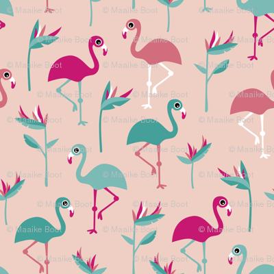 Birds of paradise botanical flower garden and flamingo beach Hawaii summer theme pink jumbo