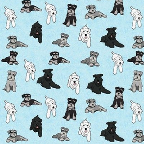 Cartoon Schnauzers on Blue Cloudy Background Small