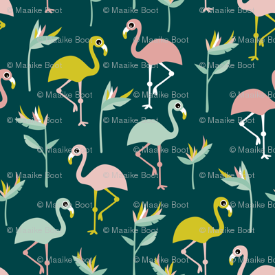 Birds of paradise botanical flower garden and flamingo beach Hawaii summer theme mustard teal