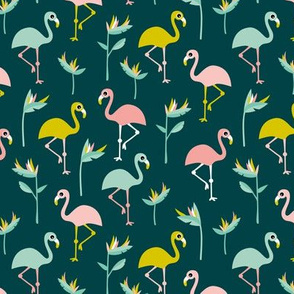 Birds of paradise botanical flower garden and flamingo beach Hawaii summer theme mustard teal