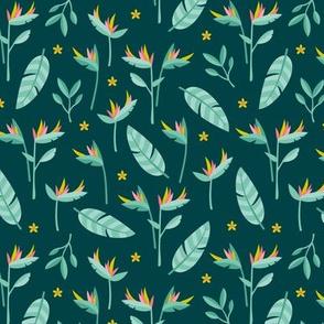 Birds of paradise botanical flower garden Hawaii summer theme green mint