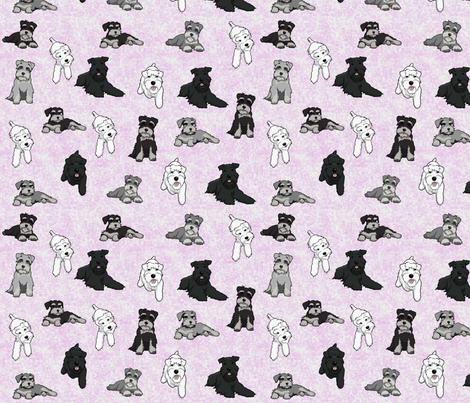 Cartoon Schnauzers on Pink Cloudy Background large fabric by olly's_corner on Spoonflower - custom fabric