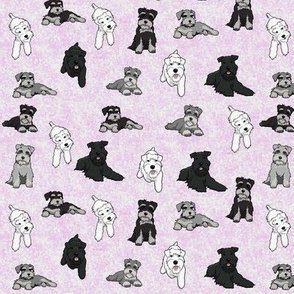 Cartoon Schnauzers on  Pink Cloudy Background small