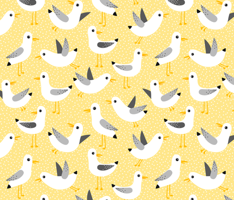 seagulls on yellow fabric by heleenvanbuul on Spoonflower - custom fabric