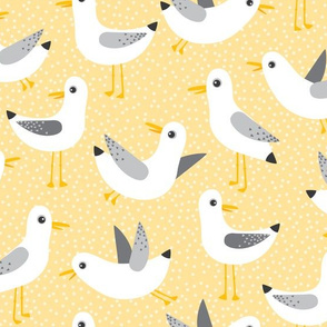 seagulls on yellow