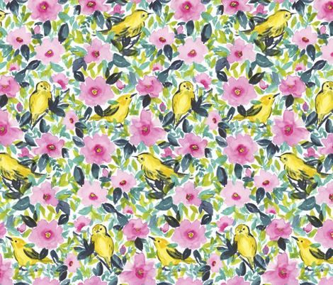 Birdies 'n Flowers fabric by mjmstudio on Spoonflower - custom fabric