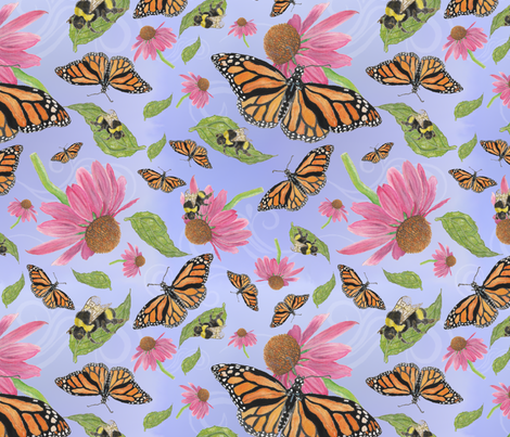 Bumblebees and Butterflies Soar  fabric by iadesigns on Spoonflower - custom fabric