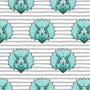 Triceratops - teal on grey stripes - dinosuar