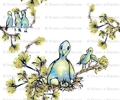 Blue bird family