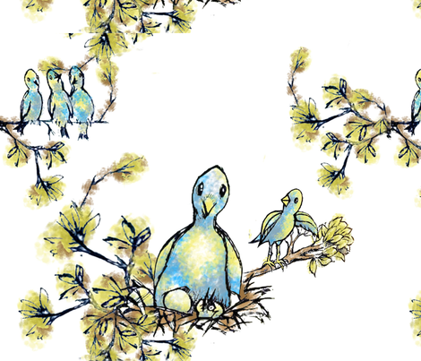 Blue bird family fabric by lil_chick_ent_ on Spoonflower - custom fabric