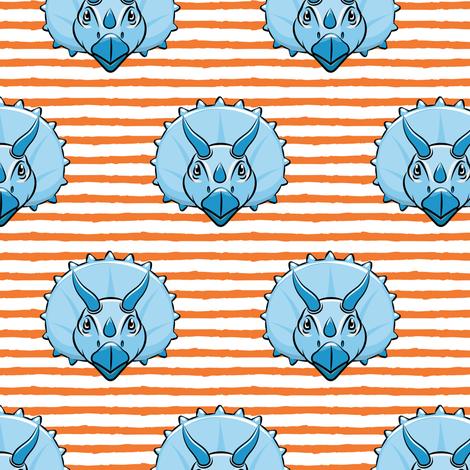 Triceratops - blue on orange stripes - dinosuar fabric by littlearrowdesign on Spoonflower - custom fabric