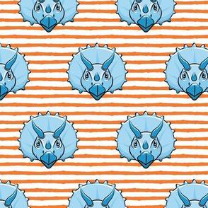 Triceratops - blue on orange stripes - dinosuar