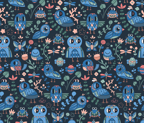 Funny birds and bugs. Animals by air.  fabric by kostolom3000 on Spoonflower - custom fabric