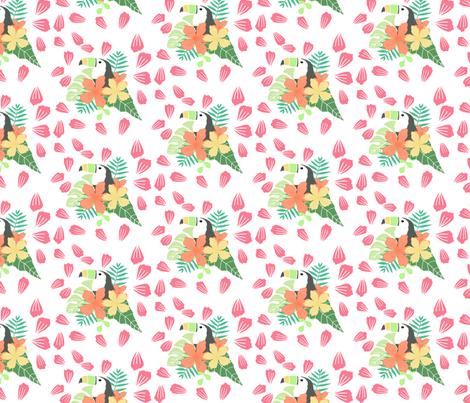 Toucan Tropical Floral Pattern fabric by tequitiaandrewsdesigns on Spoonflower - custom fabric