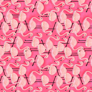 Hot Pink Flamingos Pattern