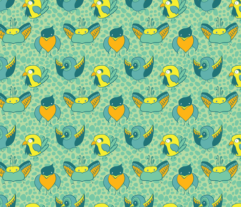 Amorous Aviary fabric by nicebutton on Spoonflower - custom fabric