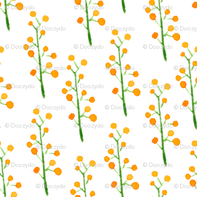 Charming watercolor sea buckthorn random pattern