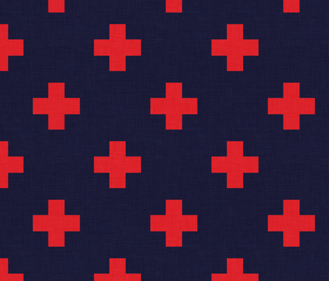 plus one navy and red fabric by holli_zollinger on Spoonflower - custom fabric