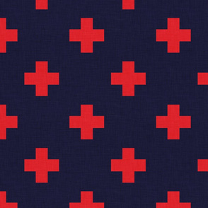plus one navy and red