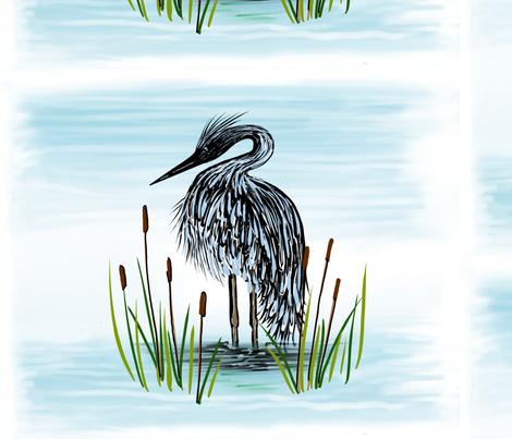Blue heron fabric by gcatmash on Spoonflower - custom fabric