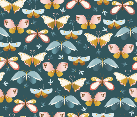 Butterflies fabric by oliveandruby on Spoonflower - custom fabric