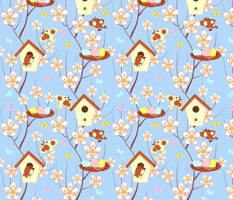 birds and flower fabric by minyanna on Spoonflower - custom fabric