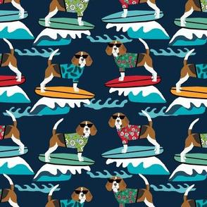 beagle surfing dog breed fabric pet lover fabrics navy