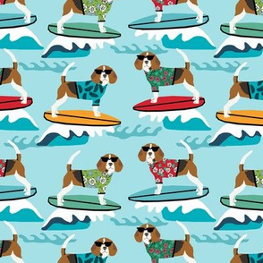 beagle surfing dog breed fabric pet lover fabrics blue