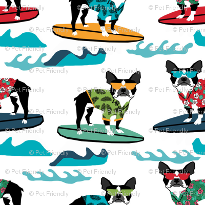boston terrier surfing dog breed fabric pet lover fabrics white