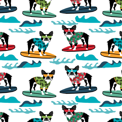 boston terrier surfing dog breed fabric pet lover fabrics white fabric by petfriendly on Spoonflower - custom fabric