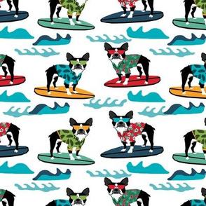 boston terrier surfing dog breed fabric pet lover fabrics white