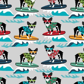 boston terrier surfing dog breed fabric pet lover fabrics grey