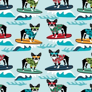 boston terrier surfing dog breed fabric pet lover fabrics blue