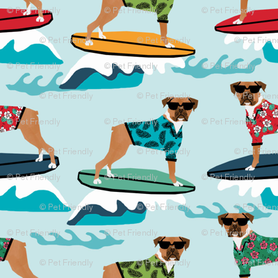 boxer surfing dog breed fabric pet lover fabrics blue