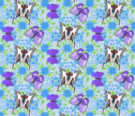 Friendly butterflies-fly-over-ground fabric by ruthjohanna on Spoonflower - custom fabric