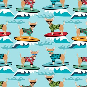 chihuahua surfing dog breed fabric pet lover fabrics blue
