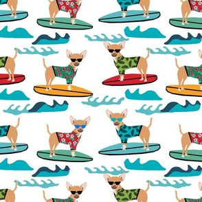 chihuahua surfing dog breed fabric pet lover fabrics white