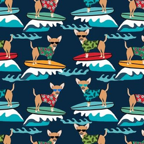 chihuahua surfing dog breed fabric pet lover fabrics navy