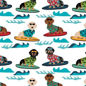 dachshund surfing dog breed fabric pet lover fabrics white