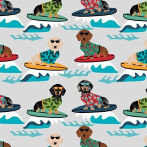 dachshund surfing dog breed fabric pet lover fabrics grey