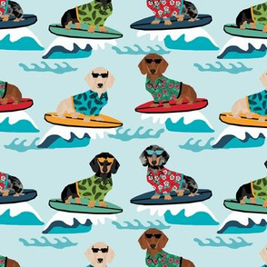 dachshund surfing dog breed fabric pet lover fabrics blue