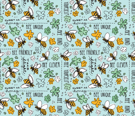 Animals By Air: Bee Yourself fabric by justdani on Spoonflower - custom fabric