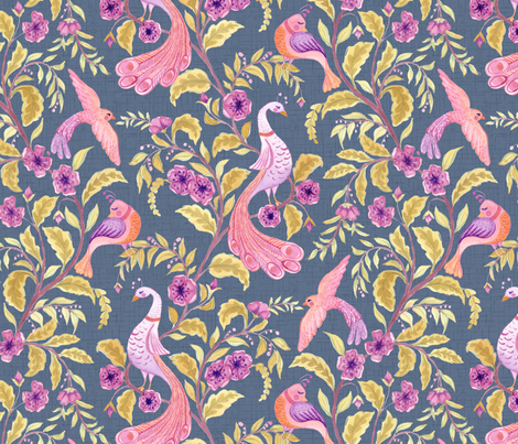 Fancy Feathered Friends fabric by byre_wilde on Spoonflower - custom fabric