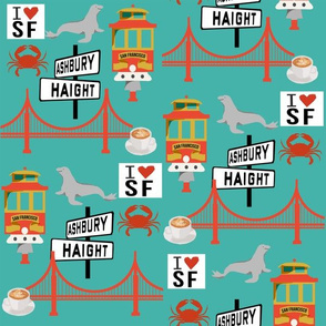 san fran travel fabric san francisco california tourist teal