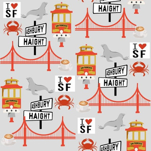 san fran travel fabric san francisco california tourist grey