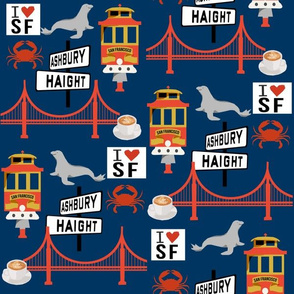 san fran travel fabric san francisco california tourist navy