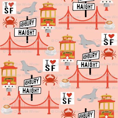 san fran travel fabric san francisco california tourist pink