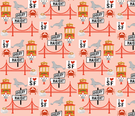 san fran travel fabric san francisco california tourist pink fabric by charlottewinter on Spoonflower - custom fabric
