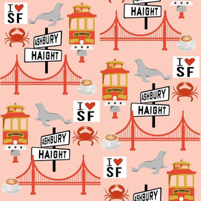 san fran travel fabric san francisco california tourist pink