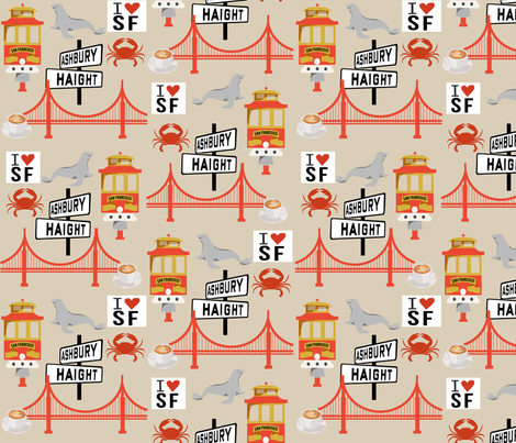 san fran travel fabric san francisco california tourist tan fabric by charlottewinter on Spoonflower - custom fabric